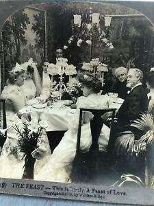 Antique Stereoview Card Photo THE FEAST- THIS IS TRULY A FEAST OF LOVE