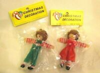 Vintage NOS Raggedy Ann & Andy Christmas Ornaments