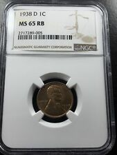 1938 D 1C Lincoln Wheat Penny NGC MS65 RB