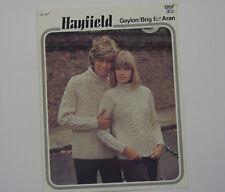 "Knitting Pattern Hayfield Ladies Men's Aran Sweater 32-42"" 1207 Gaylon/Brig"