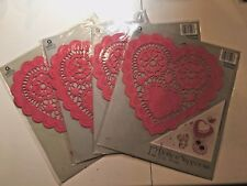 Lot Of 4 New Packs~Red Heart Paper Doilies~Valentines~10 4; Size~12 Pack~New