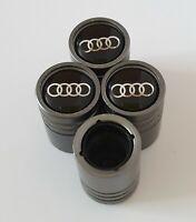 AUDI Titanium Matte Grey valve Tyre Dust Caps Plastic Inside all models Non S R8