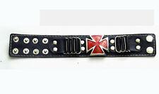 Bracelet sky noir croix de malte rouge [71778] mode gothique deguisement costume