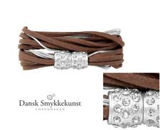Dansk Smykkekunst Copenhagen,Leder Armband o. Kette, Braun&Silber, Zirkon, 7C153