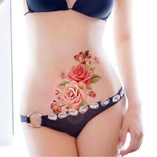 Pink Roses Flower Temporary Tattoos Stickers Body Art 3D Rose Tatoo Waterproof