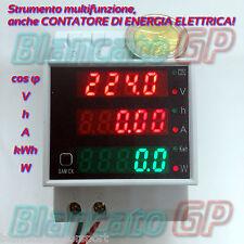 STRUMENTO DIN 220V CONTATORE ENERGIA VOLTMETRO AMPEROMETRO WATTMETRO COSFIMETRO