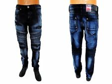 Men's JORDAN CRAIG Midnight Blue Stud denim moto biker distressed jeans JM3002A