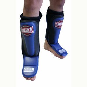 Amber MMA Gel Slip  Shin Instep Guards Kickboxing Muay Thai Training Sparring XL