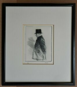 Portrait of a sporting Gentleman. Etching by listed artist Alan Flood c2000