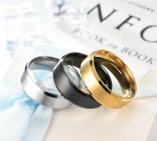 8MM Stainless Steel Men Women Wedding Engagement Black Gold Ring Band Size 6-13