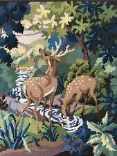 Large Vintage completed Penelope Needlepoint Tapestry Verdure -Deers B5723 VGC