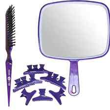 Purple Mirror, Back Comb Backcombing Hair Brush & 12 x Large Butterfly Clamps