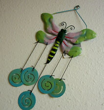 DRAGONFLY FLOWER YARD ART WIND CHIME GARDEN DECORATION WALL HANGING OR BY HOOK