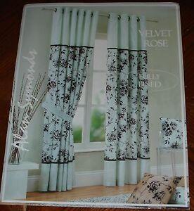 "90"" x 72"" Velvet Rose Mocha Eyelets lined curtains  1/2 price Fantastic Value!!"