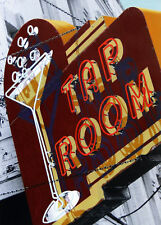 Tap Room Martini Glass Neon Sign Hand Colored Photo Bar Restaurant Art Liquor