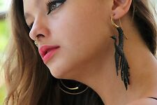 Phoenix Tribal Earring Dangle Black Horn Golden Brass Hook Unique Fake Ear Gauge