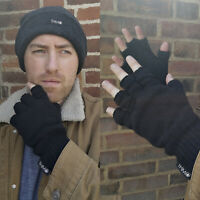 THMO - Mens Winter Knitted Fingerless Gloves with 40 gram Thinsulate Insulation