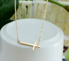 18K Rose Gold Titanium Stainless Steel Sideways Cross Pendant Necklace Gift NP
