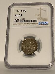 1921-S Buffalo Nickel 5c NGC AU53