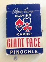 PINOCHLE PLAYING CARDS - Vtg Mid Century Giant Faced Deck in Box, MUST SEE!