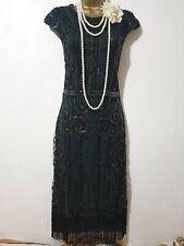 VINTAGE 20'S GATSBY FLAPPER CHARLESTON BEAD SEQUIN EMBELLISHED DRESS+BAND UK M