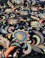 Maylie Blend Black Linen Rayon Duck Fiesta Jacobean Fabric By The Yard