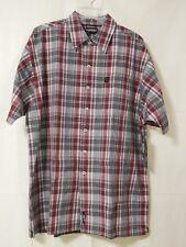 Shady Ltd Men's L Short Sleeve Red Plaid Cotton Button Front Shirt NWT