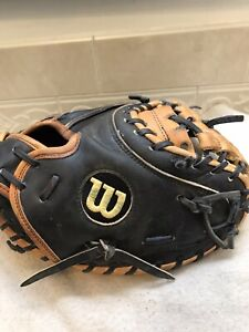 "Wilson A2403 Pro Stock 1791 Pudge 33"" Baseball Catchers Mitt Right Hand Throw"