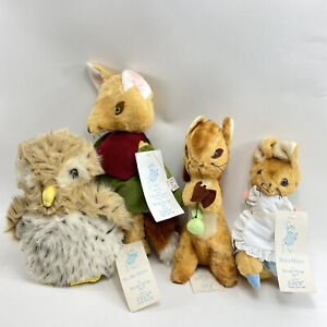 Beatrix Potter Plush Lot - Eden Toys - Vintage & Rare Fox Squirrel Tags Mr Brown