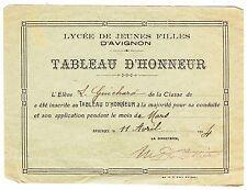 DOCUMENT TABLEAU D HONNEUR LYCEE DE JEUNES FILLES D AVIGNON 1924