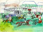 FRAMED CANVAS Art print LA COURSE A EPSOM HORSE RACING Raoul Dufy