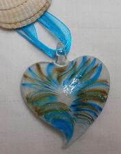 Collar De Cristal De Murano En Forma De Corazón Rayas Azules De Oro Con Collar De Cinta De Cable