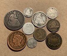 1861 1863 1864 Civil War Era Type Coins Seated Culls Holed Lot 3 Cent Silver Dug