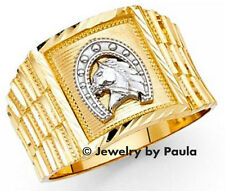 Men's 14k Solid Genuine Yellow Gold with White Gold Horseshoe Band Ring