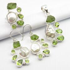 Peridot Pendant Earrings Ring Sz 7.75 Set 925 Pure Silver Authentic Biwa Pearl &