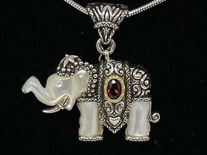 BARBARA BIXBY ENHANCER/PENDANT ELEPHANT WITH MOP AND GARNET GEMSTONE
