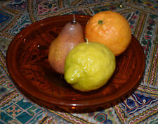 Fruit Bowl Amber Hand blown Glass 24x24x6cm ht.