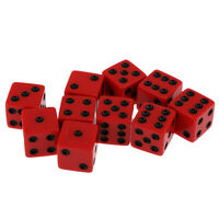 10 x Acrylic Six Sided Dice D6 Spot Dice Playing Dice Red