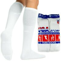6 12 Paris Mens Cotton Athletic Sports Tube Socks Size 9-15 White Made In USA