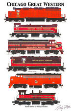 """Chicago Great Western Locomotives 11""""x17"""" Poster by Andy Fletcher signed"""