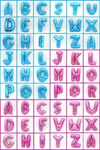 Blue Pink Foil Balloons 26 Alphabet Letters A-Z Design Birthday Party Decor