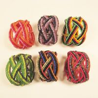 6 PC Handmade Bali Beaded Bright Bold Color Braided Cuff Bracelet WHOLESALE LOT