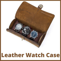 Watch Roll Travel Genuine Leather Display Case Storage Box Organizer Watches