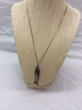 Beautiful  vtg. Chinese sterling silver 925 Articulated Fish Pendant necklace