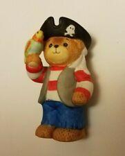 "Teddy Bear Figurine - Pirate w. Parrot appx. 3""T x 2""W x 1""L Vg Mfg. Korea"