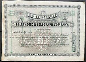 1883 CUMBERLAND TELEPHONE & TELEGRAPH COMP Stock Certificate Henderson Kentucky