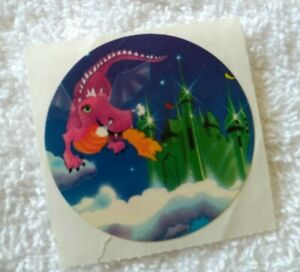 Vintage 80s sticker Lisa Frank dragon castle sky clouds 1982
