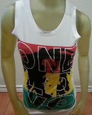 "Bob Marley Womens Tank Top White Cotton Small  32"" chest Singlet Vest Reggae"