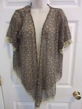 BoHo Chic Floral Lace Flowing wrap overpiece top Fun and Flirt Size Small  hi lo