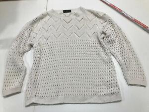MAKE UP toller dicker Pullover Strickpullover Gr. 40 wollweiß Lochmuster #MNE